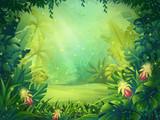 Vector cartoon illustration of background morning rainforest - 129811660