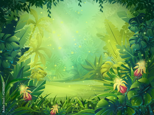 Fototapeta Vector cartoon illustration of background morning rainforest