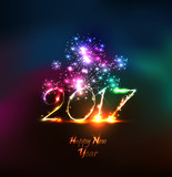 Fototapety Happy new year 2107 greeting card with fireworks