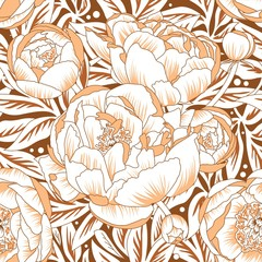 Seamless ornament peonies
