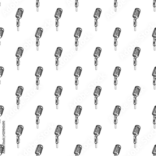 Seamless pattern, vintage style. Black and white abstract background with sketchy microphone. pattern for wrapping, textile, carpet, paper, t-shirt or other printing products
