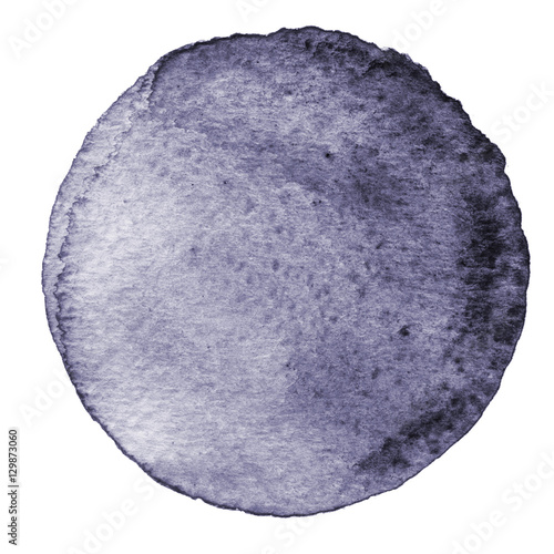 Gray watercolor circle. Stain with paper texture. Design element isolated on white background. Hand drawn abstract template - 129873060