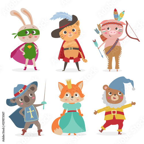 fototapeta na ścianę Cute animal kids in different costume. Cartoon vector illustrati