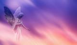 Beautiful angel in heaven panoramic veiw