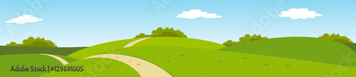 summer panoramic rural landscape with hills and road - 129891005