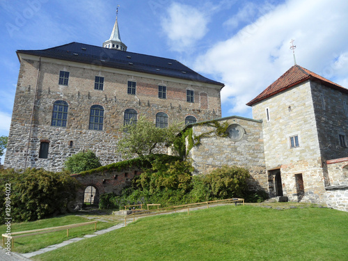 Poster Stunning Medieval Architecture Inside the Akershus Fortress, Histotical Area in