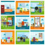 Collection of Office Interiors Concept Vectors.