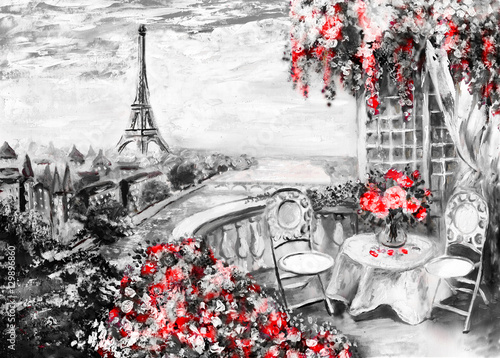 Fototapety, obrazy : Oil Painting, summer cafe in Paris. gentle city landscape. Abstract flower. View from above balcony. Eiffel tower, France, wallpaper. modern art
