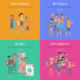 Shopping on Sale Flat Vector Web Banners Set
