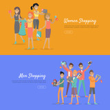 Women and Men Shopping Banners Accessoires on Sale