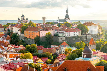 Aerial view from church tower on the old town of Tallinn on the sunset in Estonia