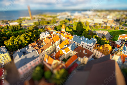 Top view from Olaf's church tower on the old town of Tallinn, Estonia Poster