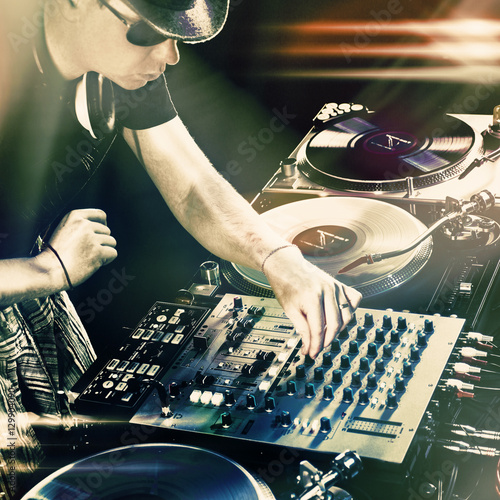 Poster Dj playing disco house progressive electro music at the concert
