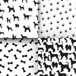 Awesome set of seamless pattern with dog silhouettes, cartoon bo - 129907419