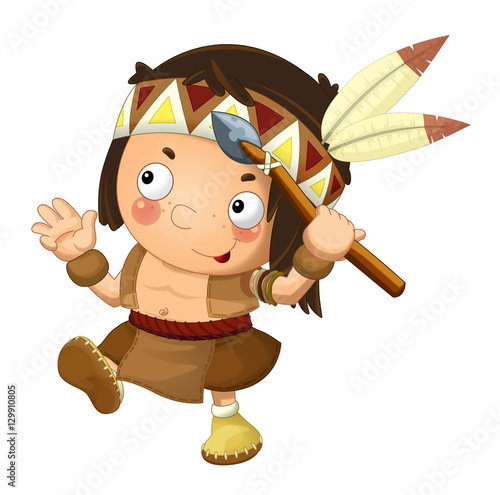 Cartoon indian character - isolated - illustration for children - 129910805