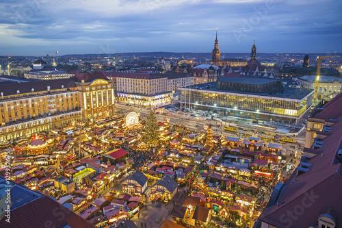 striezelmarkt christmas market at night in dresden germany