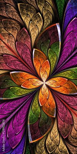 Fototapeta Beautiful fractal flower or butterfly in stained glass window st