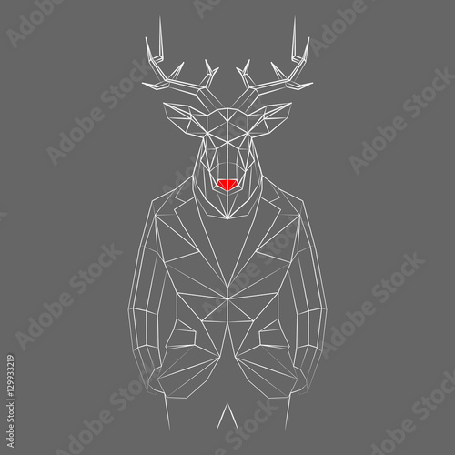 Aluminium Hipster Hert A deer with white lines.