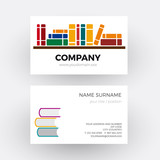 Vector abstract book and bookstore. Business card