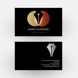 Vector abstract fountain pen, concept of writer. Business card