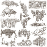 Madagascar - Pictures of life. Travel. Full sized hand drawings, - 129965416