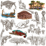 Madagascar - Pictures of life. Travel. Full sized hand drawings, - 129965492