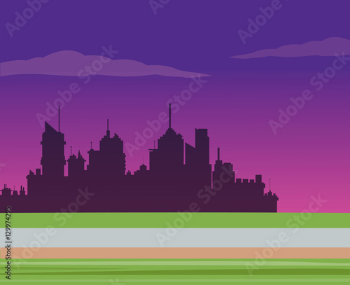 Foto op Canvas Violet silhouette city night road background vector illustration eps 10
