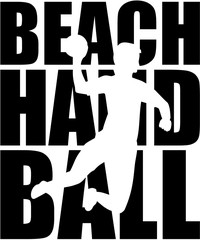Beachhandball word with silhouette