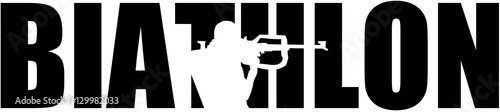 Biathlon word with silhouette cutout