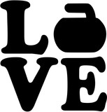 Love word with curling rock
