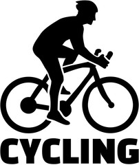 Cyclist with word Cycling