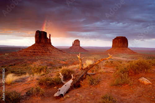 Poster Oranje eclat Monument Valley Sunset