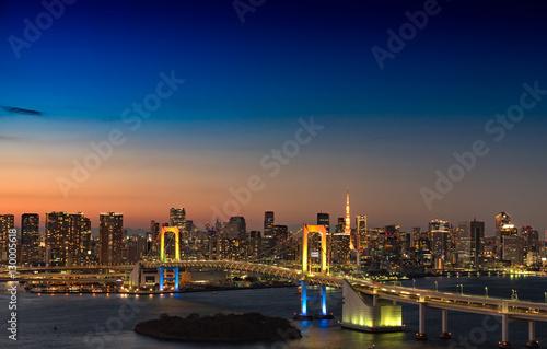 Plexiglas Tokio お台場から眺める東京の夜景(レインボーブリッジ、東京タワー)