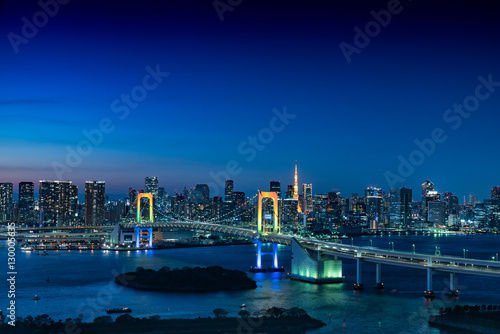 Poster お台場から眺める東京の夜景(レインボーブリッジ、東京タワー)