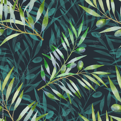 Fototapeta Floral seamless pattern with olive branch. Vegetable background in hand drawn watercolor style. Hand drawn decorative elements for food design, textile, paper, wrapping