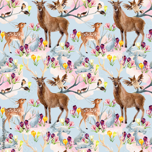 Spring forest seamless pattern. - 130039421