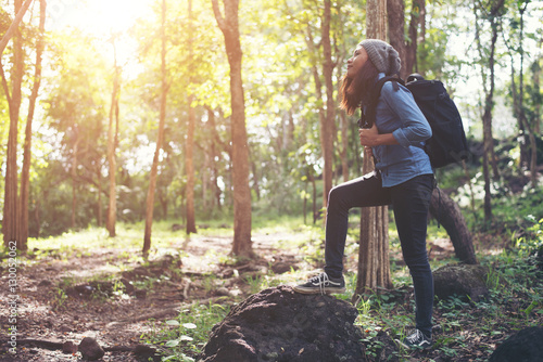 Hipster young woman hiking holiday, wild adventure. Poster
