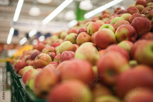 Fresh apples to sell on the market. Selective focus.