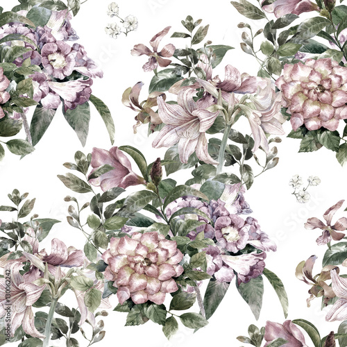 Watercolor painting of leaf and flowers, seamless pattern on white background - 130062242