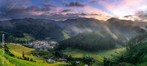 Mu cang chai in town at sunrise.