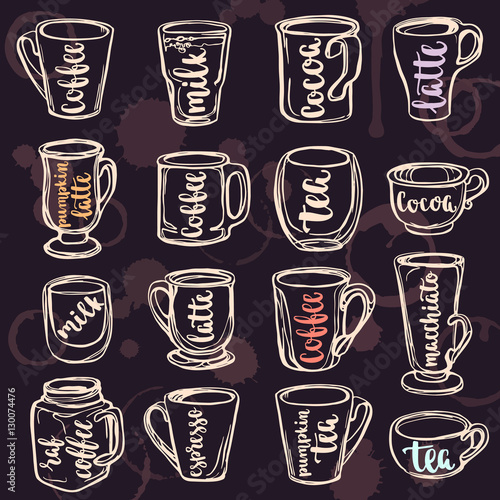 Beverages calligraphy and lettering on cups with hand painted watercolor spot background.
