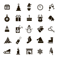 25 black and white Christmas icons