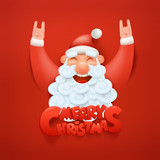 Santa claus character making hard rock sign Merry christmas title