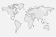 Glass world map illustration isolated on a white background