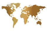 Gold World Map Illustration