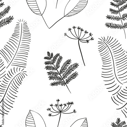 Fototapeta Scandinavian vector floral seamless pattern. Simple hand drawn elements in nordic style. Reapiting tileable composition for your design.