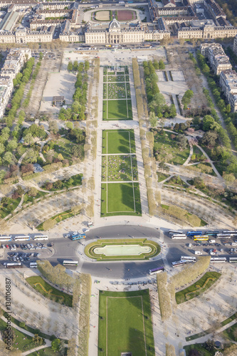 Poster Aerial view from Eiffel Tower on Champ de Mars - Paris.