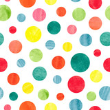 Seamless colorful dots pattern. Vector background with watercolor circles.