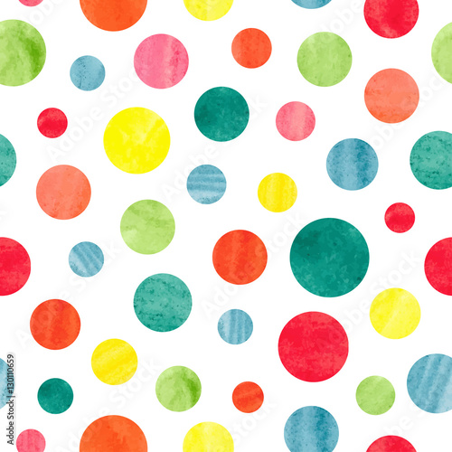 Fototapeta Seamless colorful dots pattern. Vector background with watercolor circles.