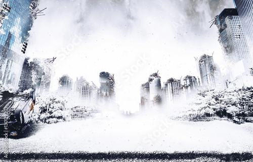 Snowing in the ruins of the city destroyed by the ice age and war
